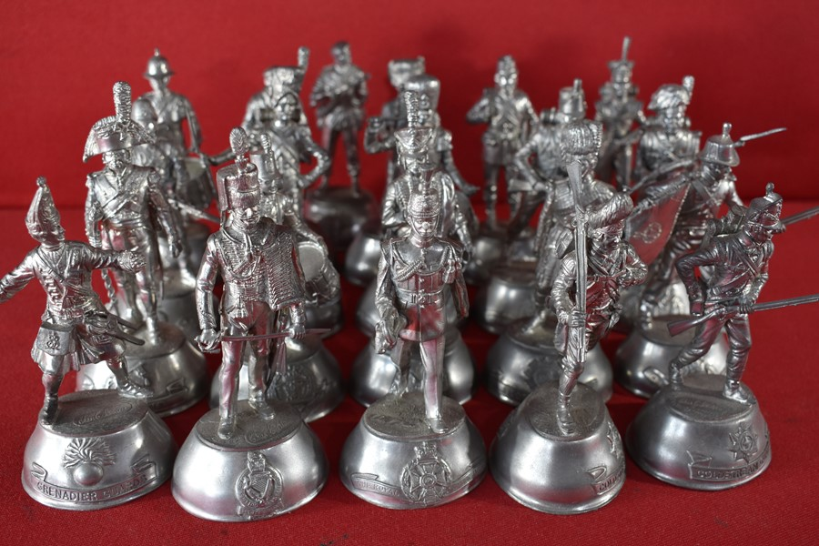 COLLECTION OF 21 90MM CHARLES STADDEN PEWTER MILITARY FIGURES